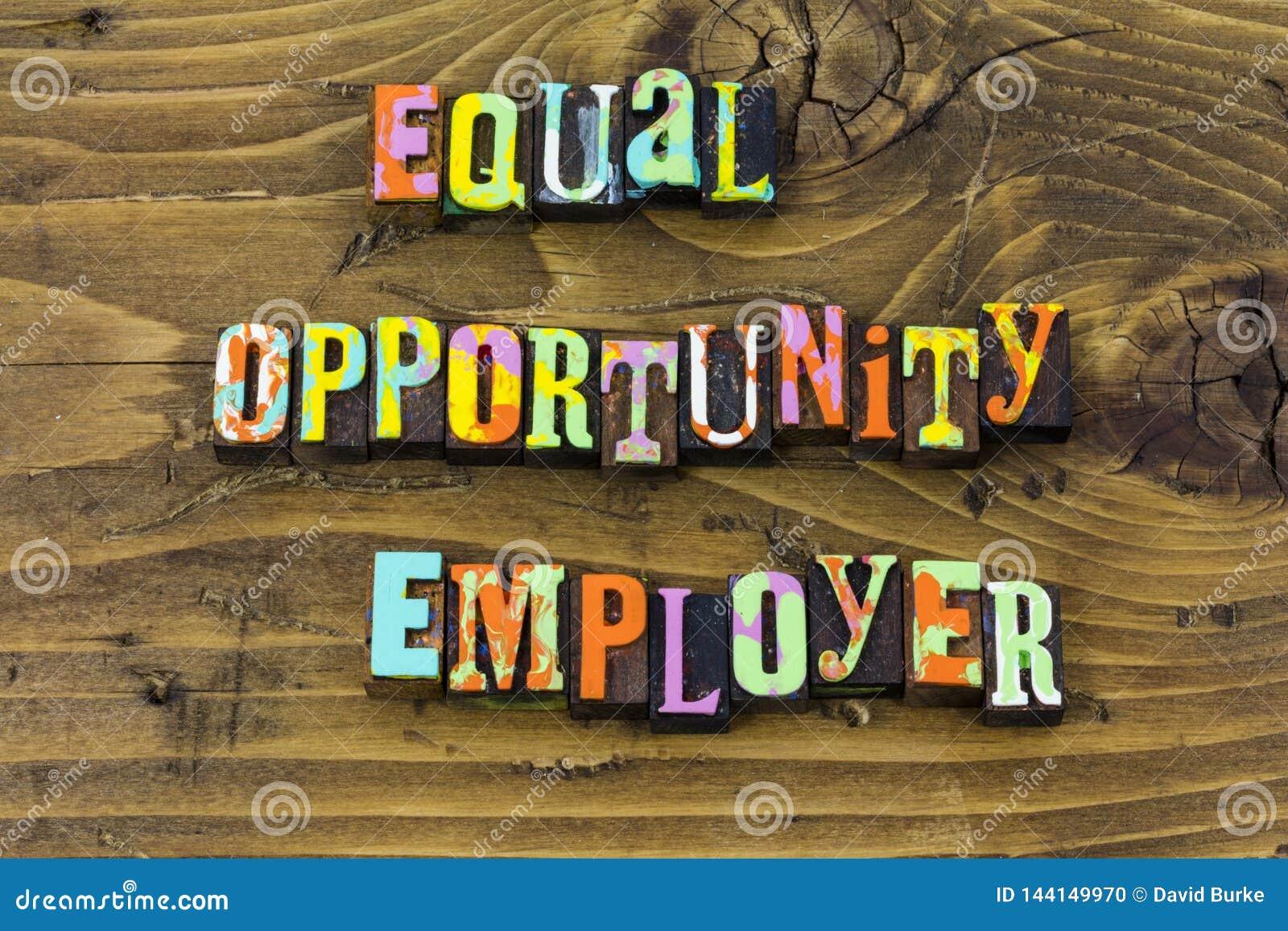 Cópia da tipografia da diversidade da igualdade do negócio do empregador das oportunidades iguais
