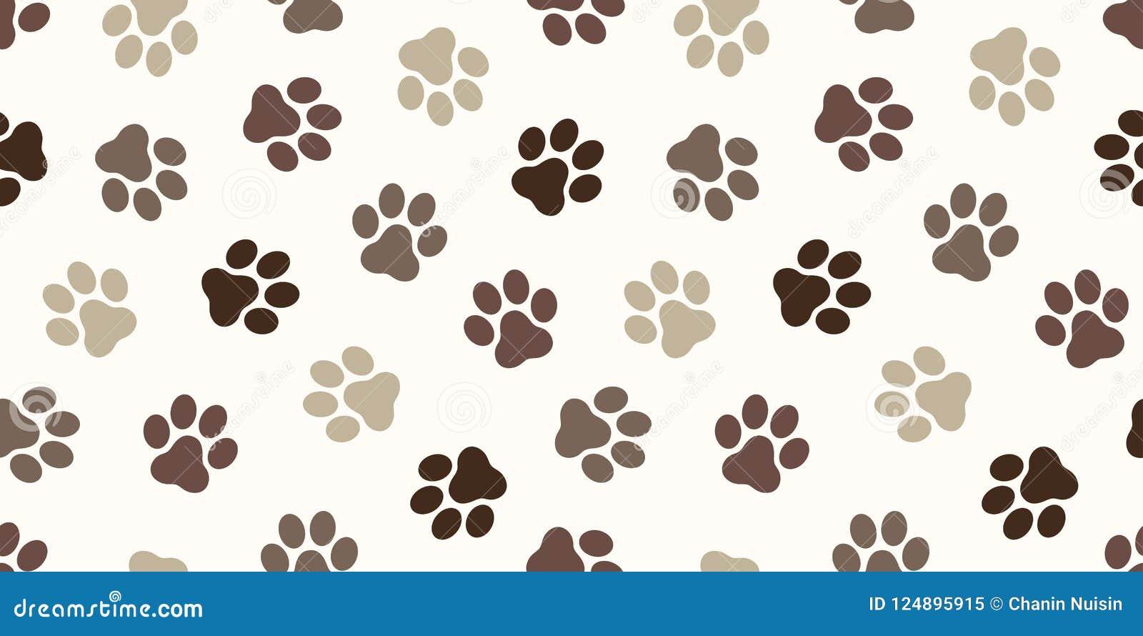 A cópia do pé da pata do gato do vetor de Paw Seamless Pattern do cão isolou o marrom do contexto do fundo do papel de parede
