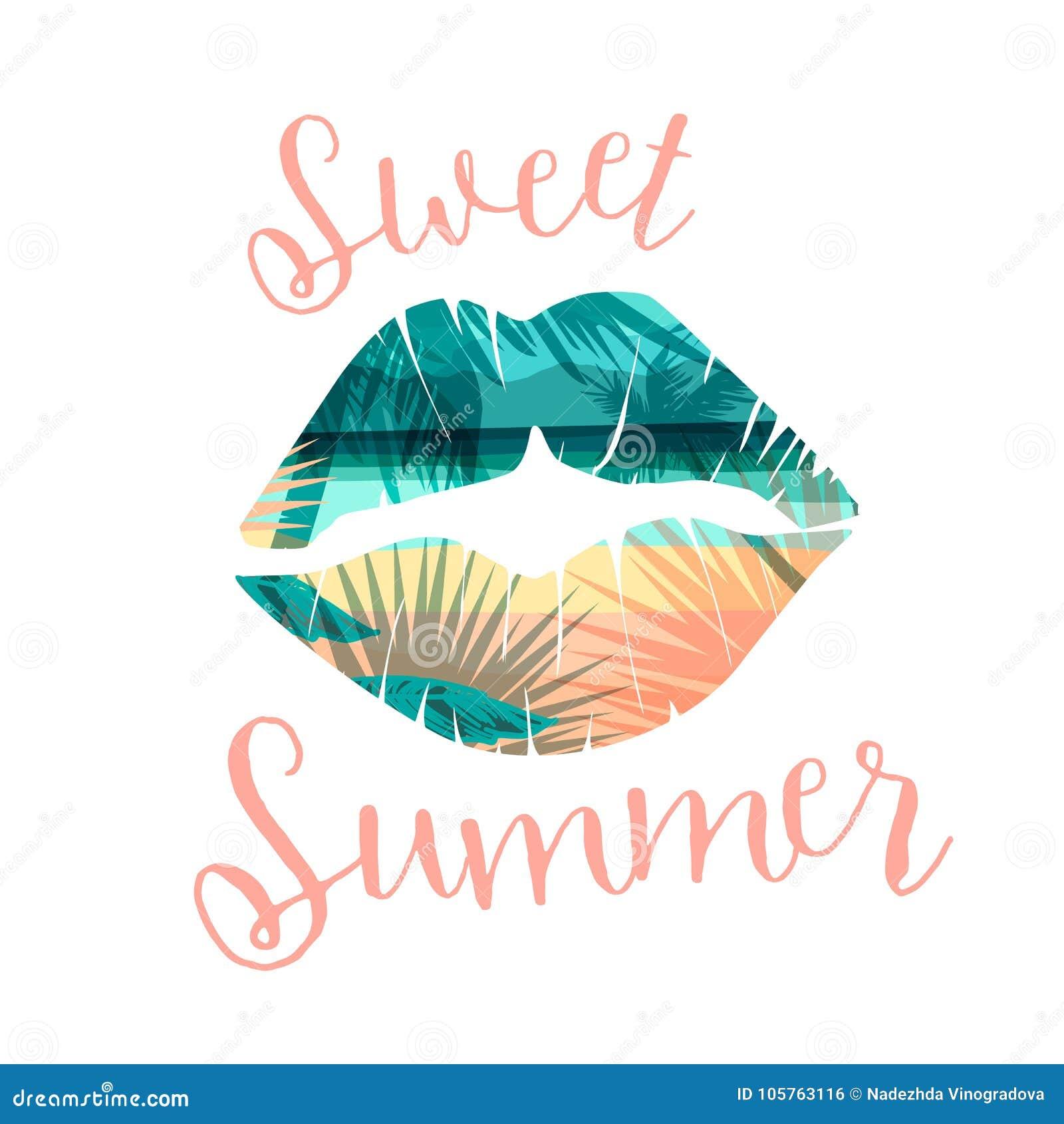 Cópia tropical do verão da praia com slogan para t-shirt, cartazes, cartão e outro usos