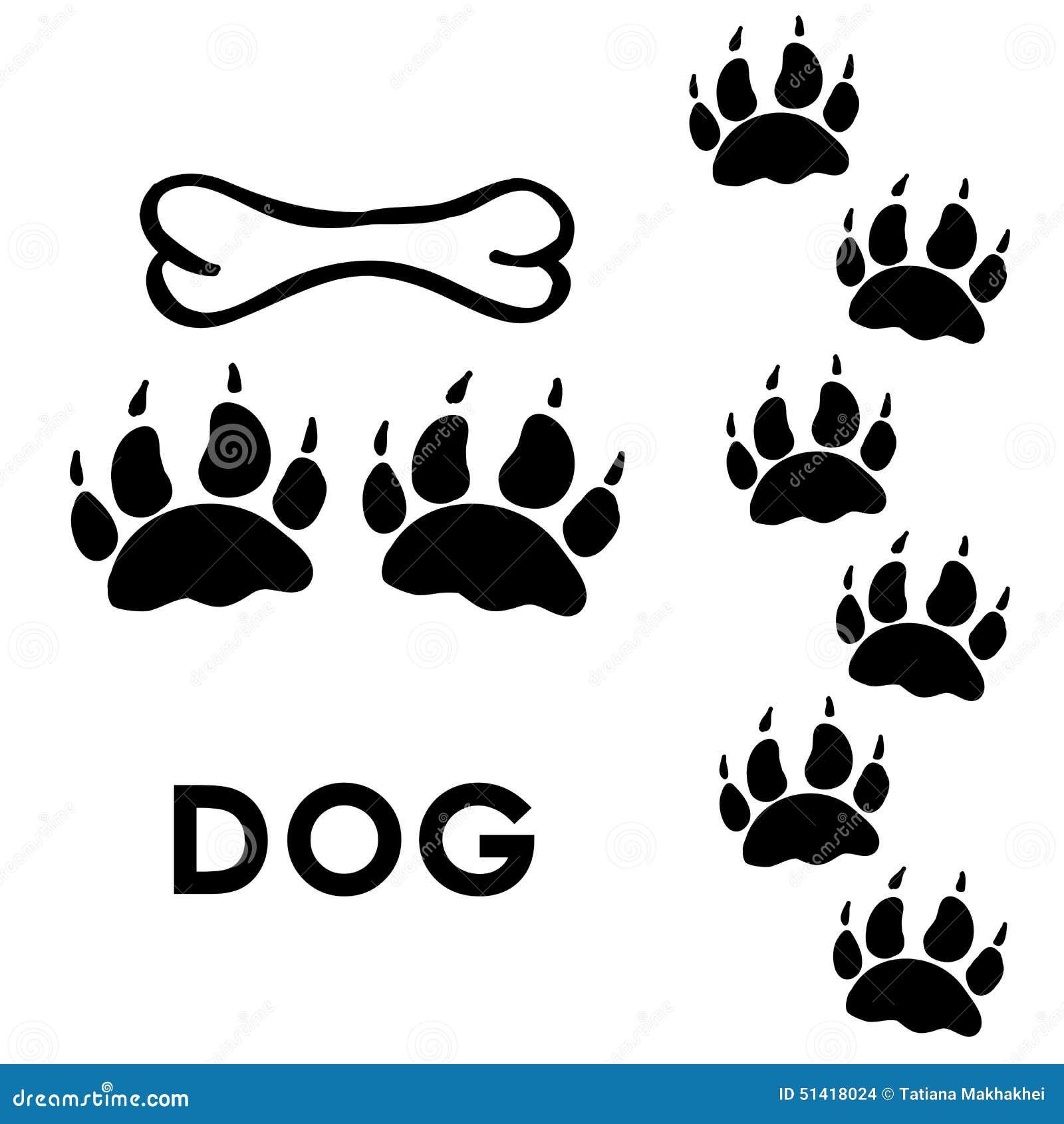 Cópias da pata do cão
