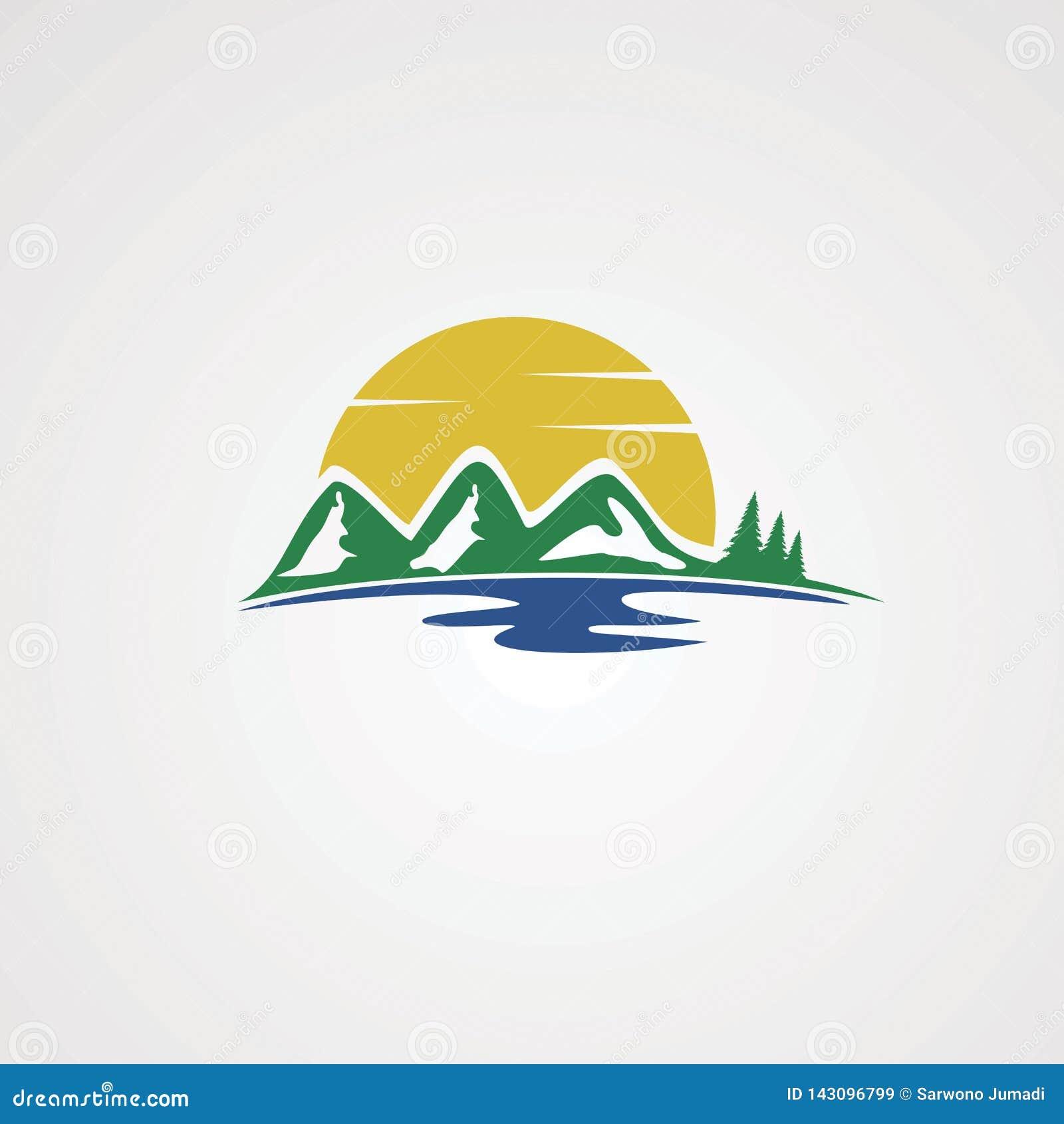 Côté de lac avec le vecteur, l icône, l élément, et le calibre de logo de montagne de vert d arbre pour des affaires