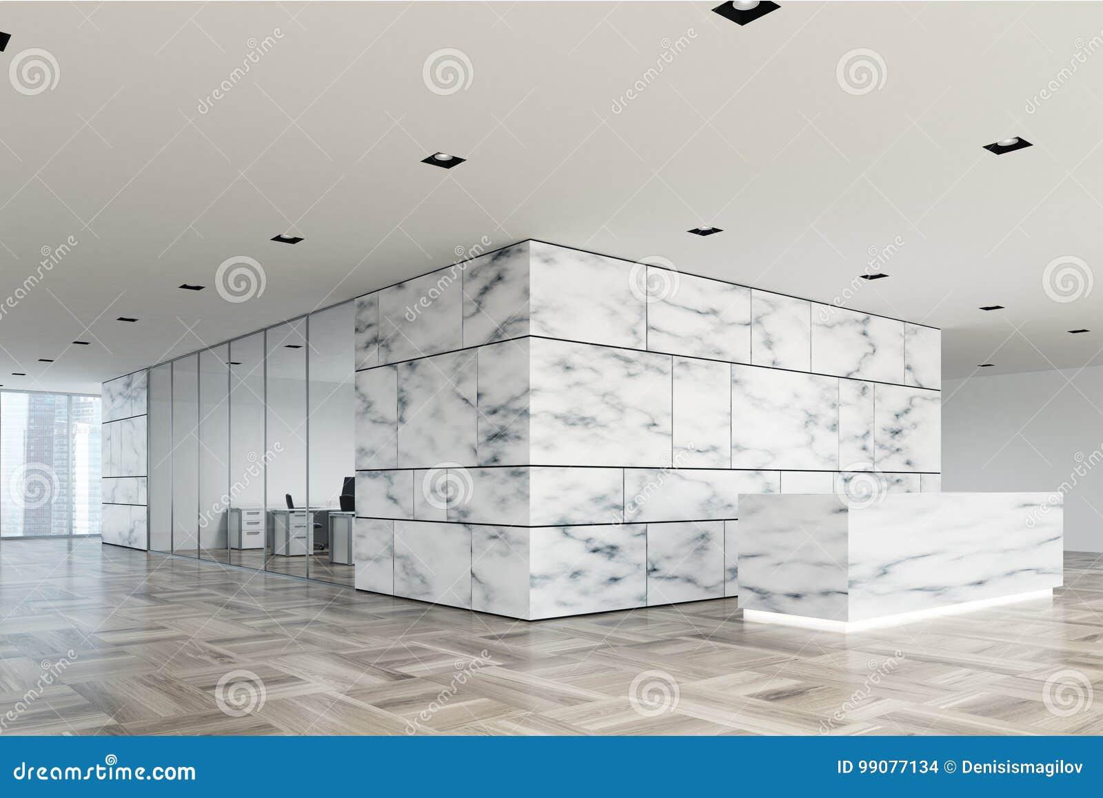 Côté de marbre et en verre de lobby de réception