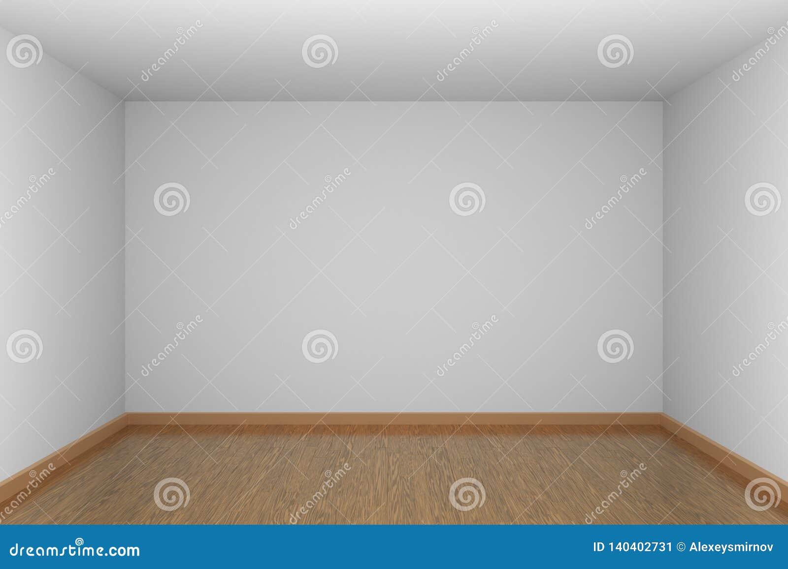 Piece A Vivre Parquet côté en noir de pièce vide blanche avec le plancher de