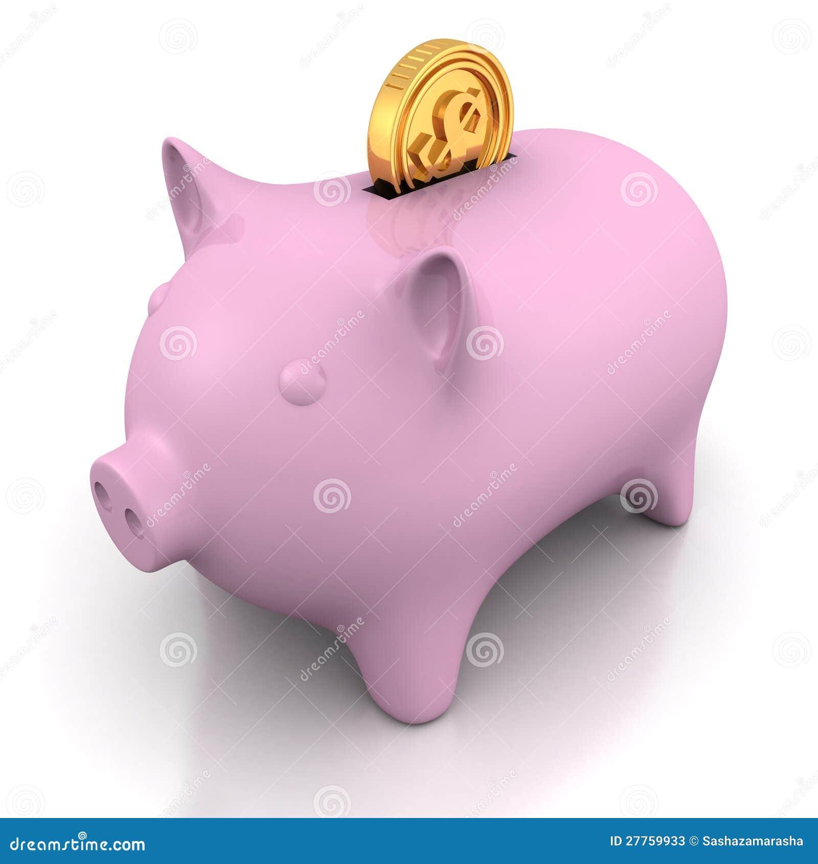 Côté porcin d argent avec la pièce de monnaie d or du dollar