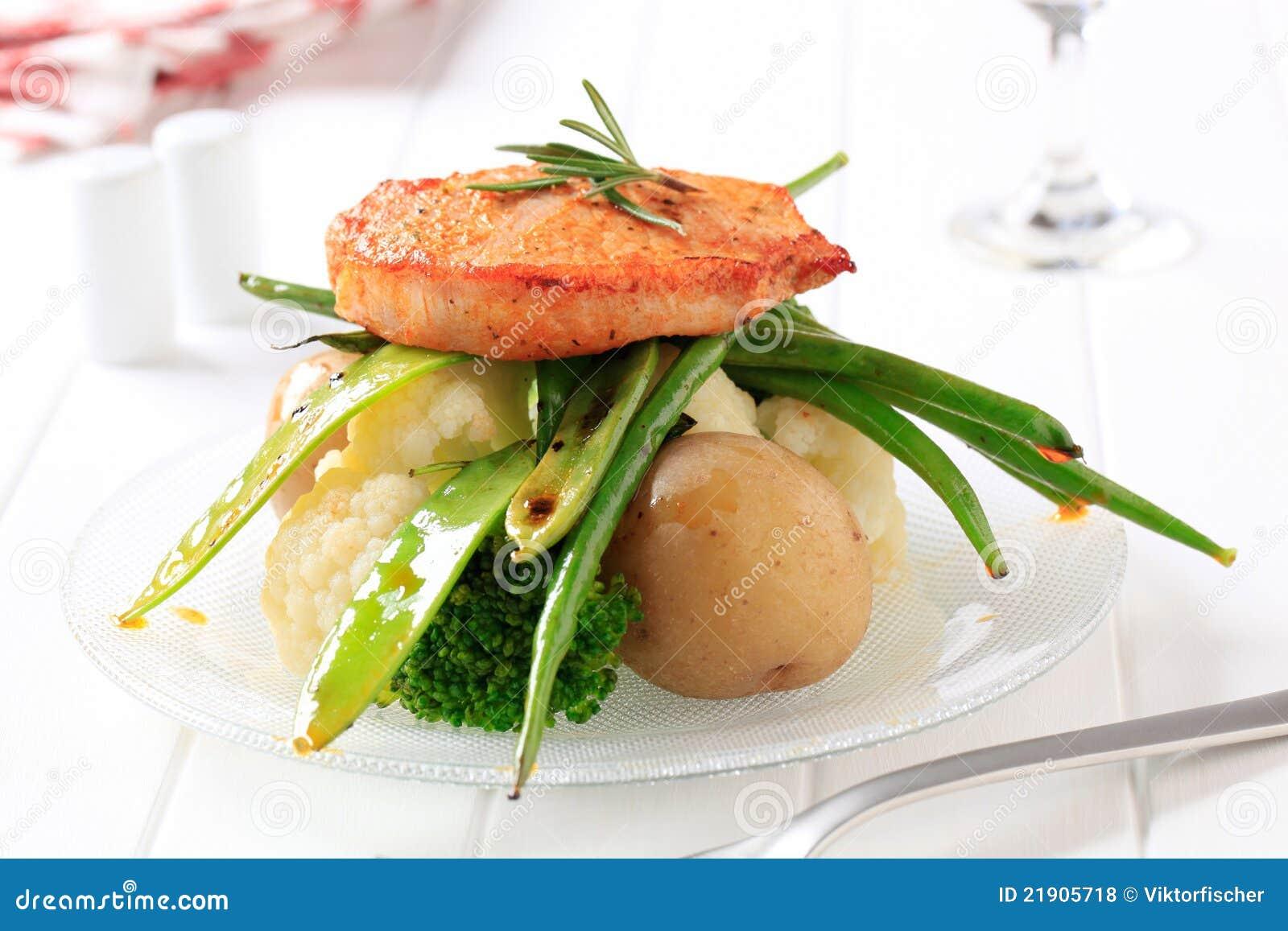 Côtelette et légumes de porc marinée