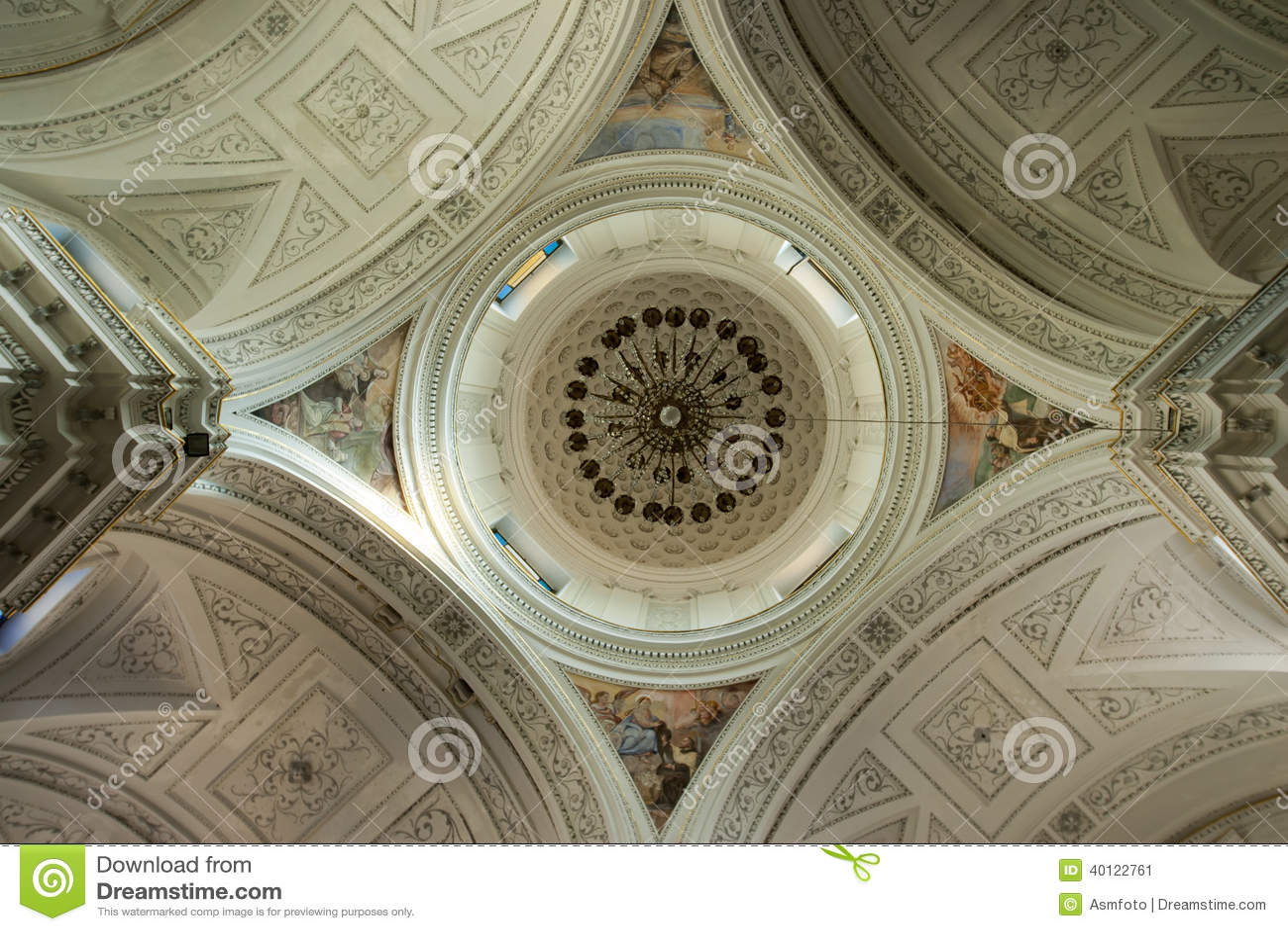 Cúpula interior de la iglesia de abajo hacia arriba en simetría