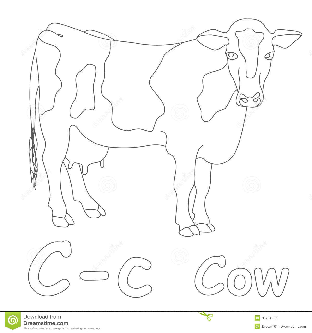 c for cow coloring page stock illustration image 39701552