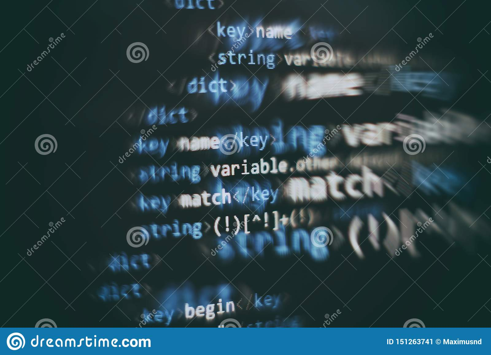 C?digo abstracto de la escritura del ordenador Pantalla programada del c?digo del desarrollador de software Tiempo de trabajo de