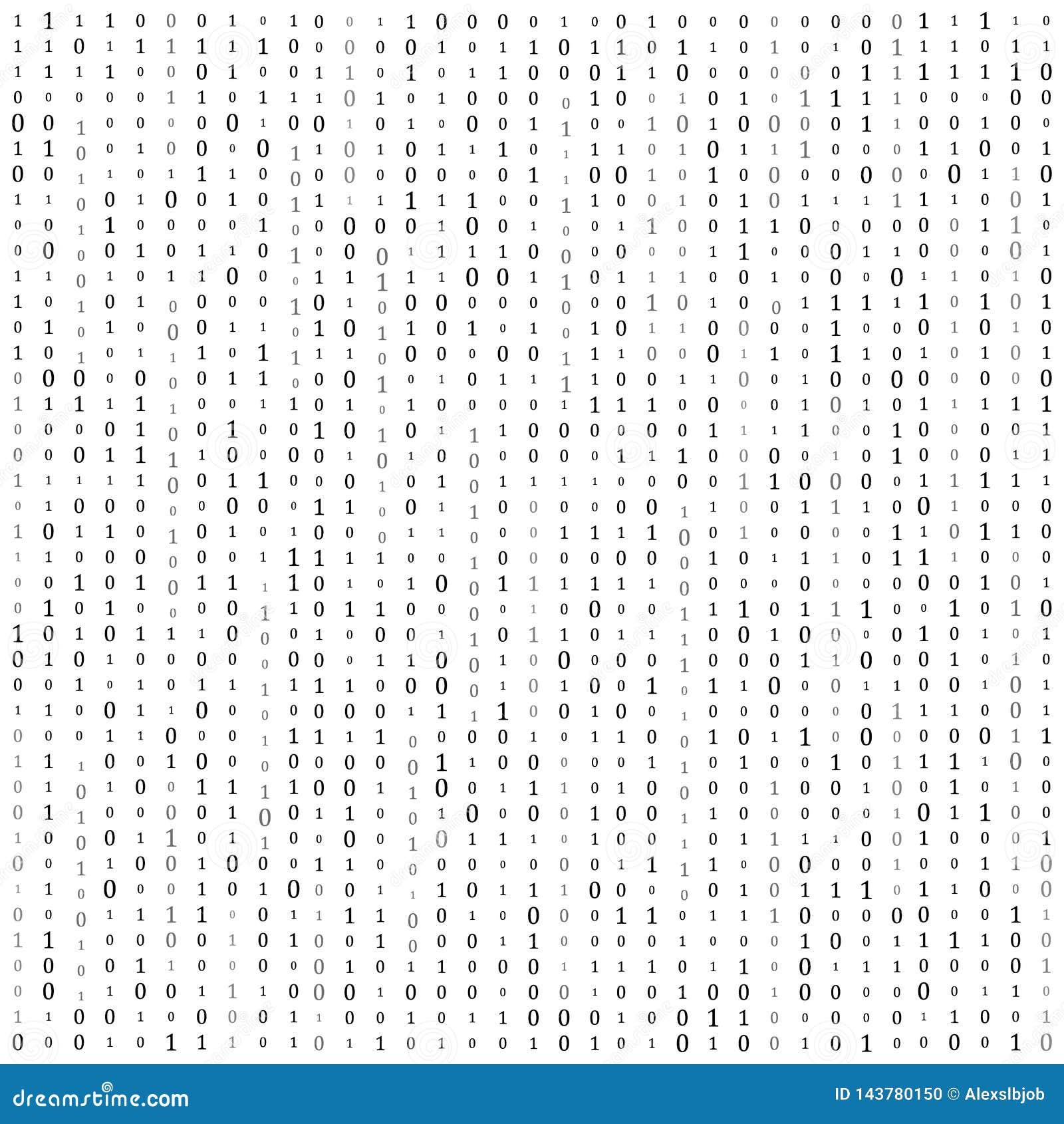 C?digo binario cero un fondo del blanco de la matriz bandera, modelo, papel pintado Ilustraci?n del vector
