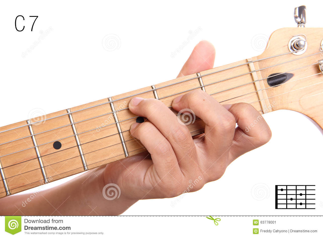 C Dominant Seventh Guitar Chord Tutorial Stock Image Image Of