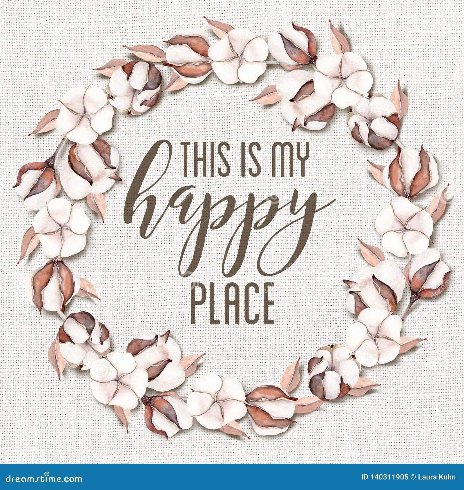 C est ma guirlande florale de coton heureux d endroit avec le fond chic minable en bois