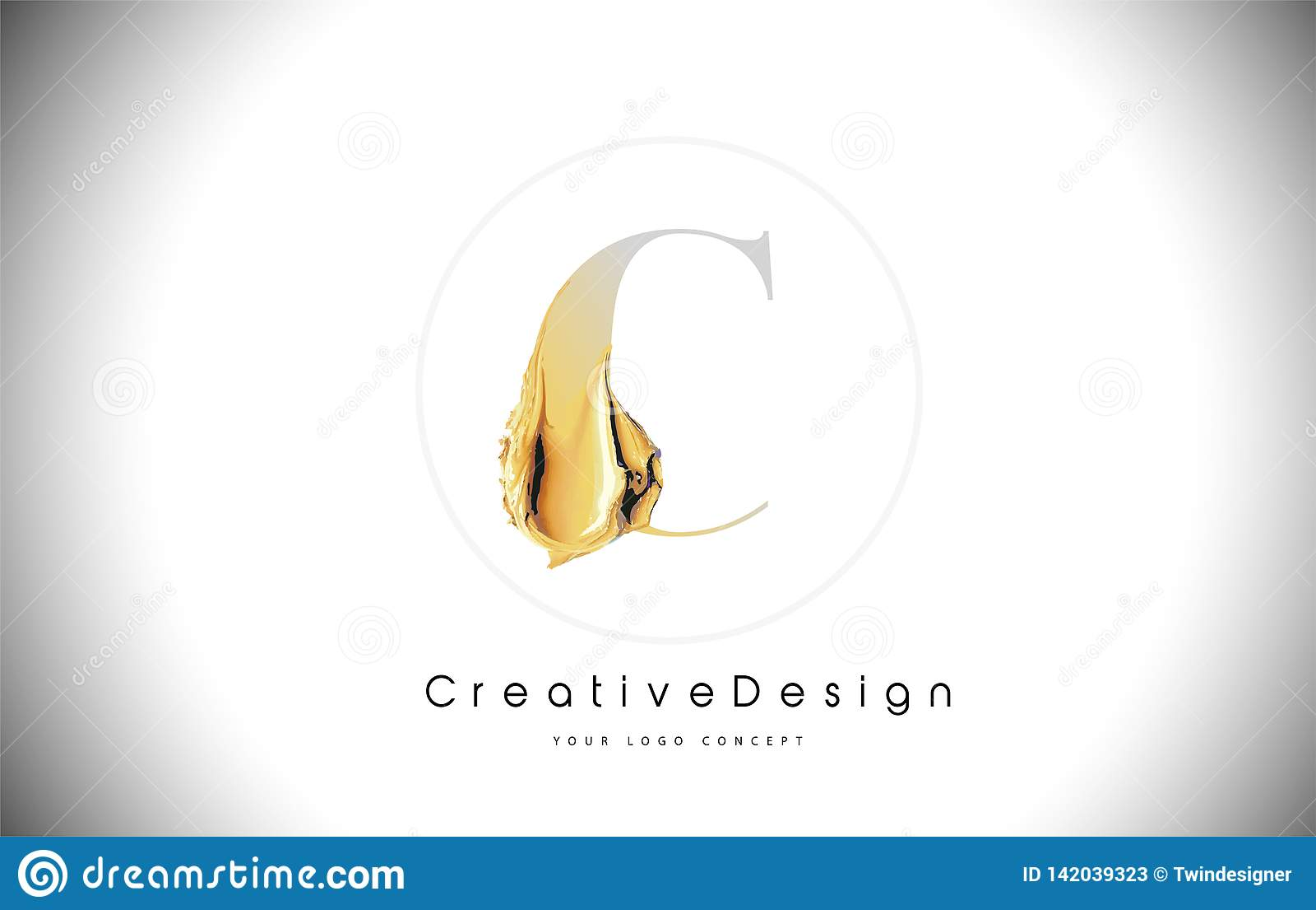 C Golden Letter Design Brush Paint Stroke. Gold Yellow c Letter Logo Icon with Artistic Paintbrush