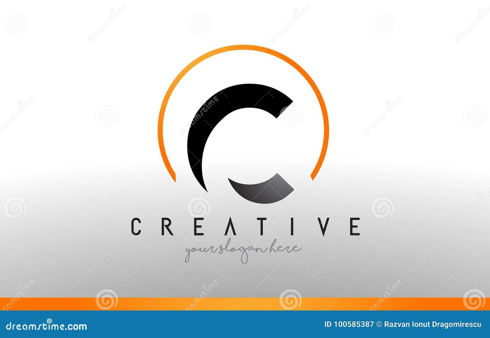 Cool Letter I Logo.C Letter Logo Design With Black Orange Color Cool Modern