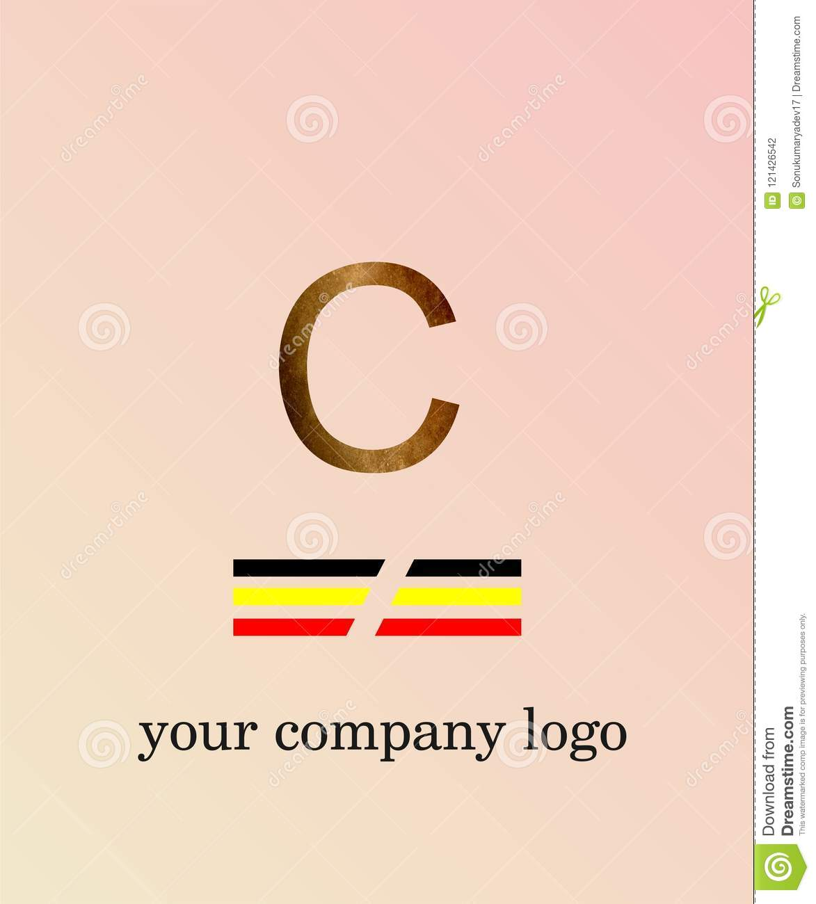 C Letter Logo Template You Company Logo And Light Pink Color ...