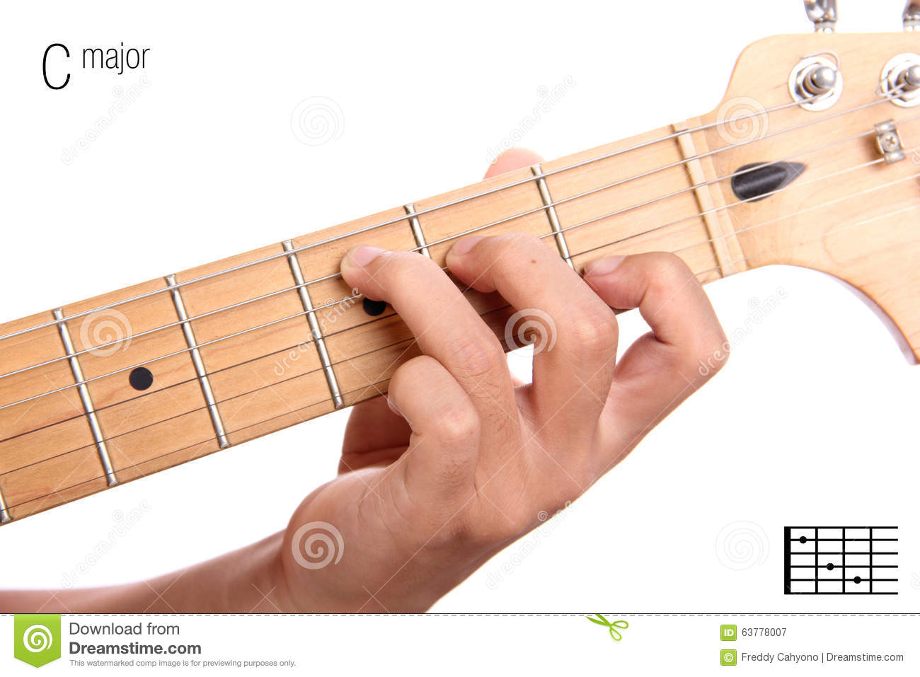 C Major Guitar Chord Tutorial Stock Image - Image of