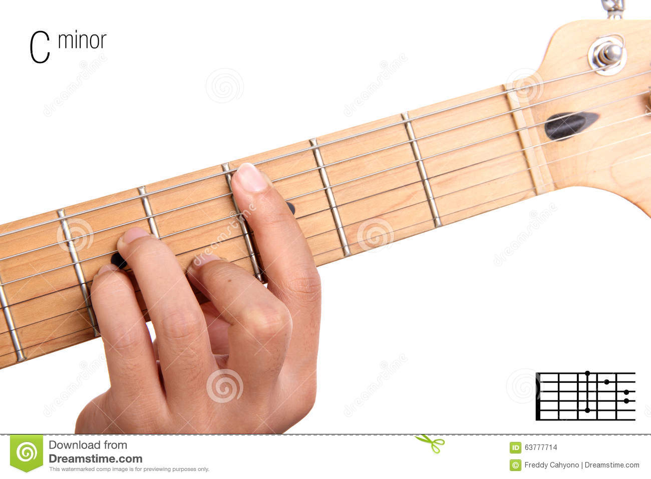 C Minor Guitar Chord Tutorial Stock Photo Image Of Lesson Learn