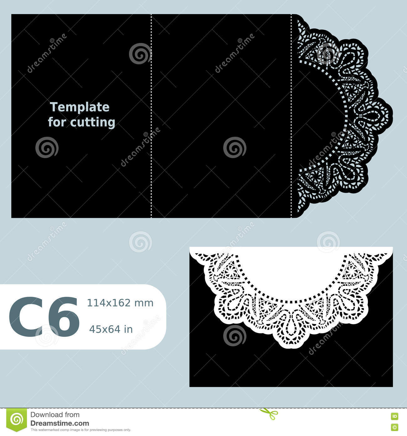 C6 paper openwork greeting card template for cutting lace c6 paper openwork greeting card template for cutting lace invitation ard with fold lines object isolated background vector m4hsunfo