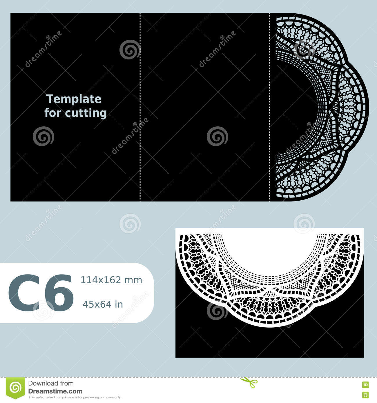 C6 Paper Openwork Greeting Card Template For Cutting Lace