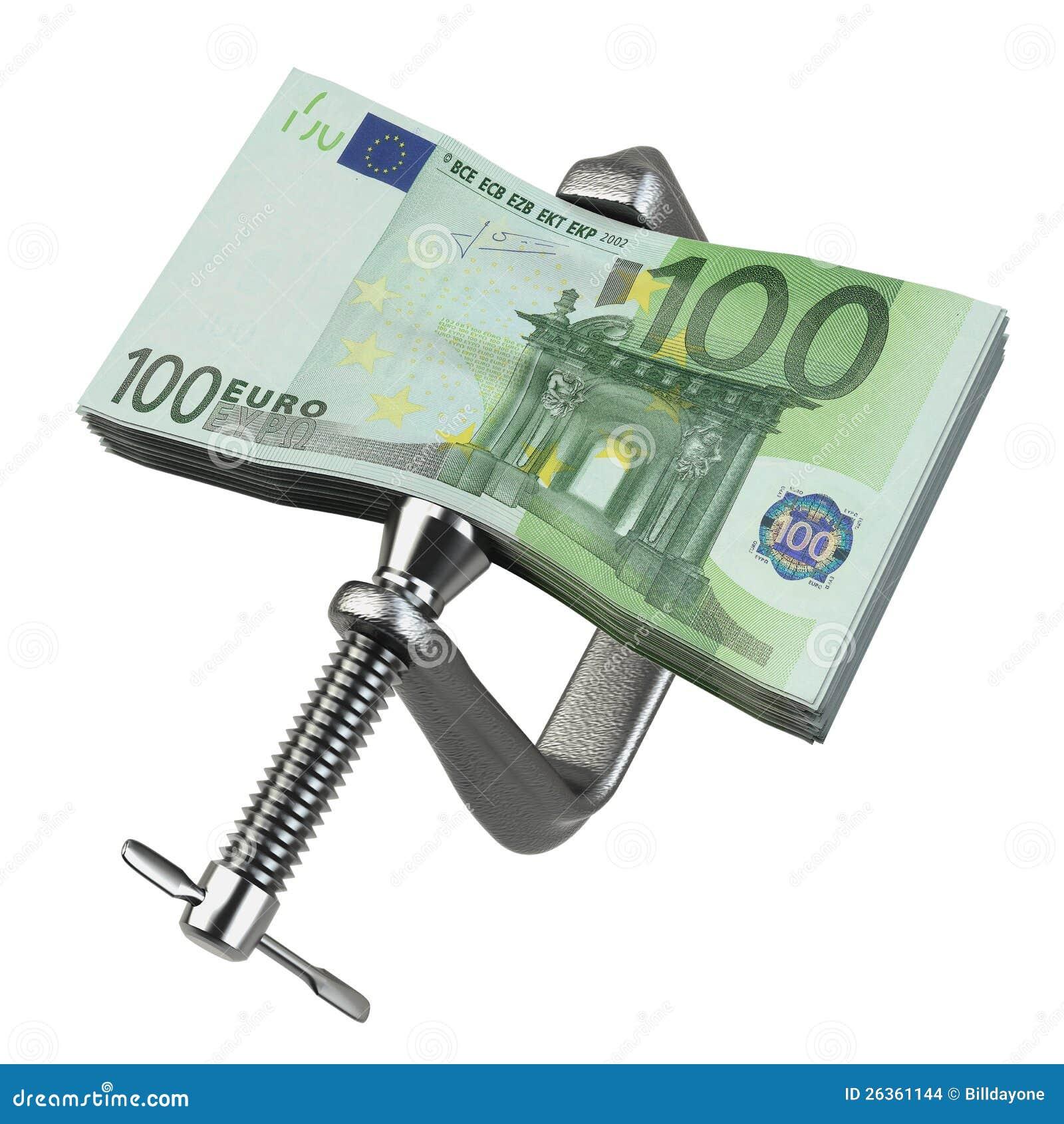 C-Rohrschelle, die Eurobargeld zusammendrückt