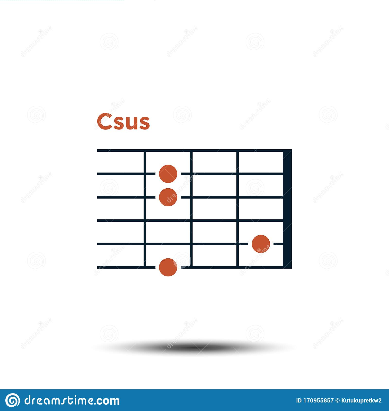 C Sus, Basic Guitar Chord Chart Icon Vector Template Stock Vector ...