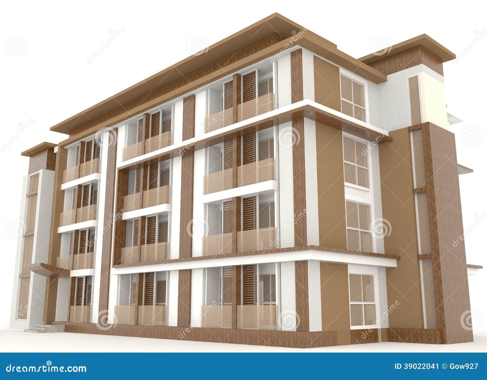 C t d 39 isolat ext rieur en bois d 39 immeuble des bureaux 3d for Immeuble bureau plan