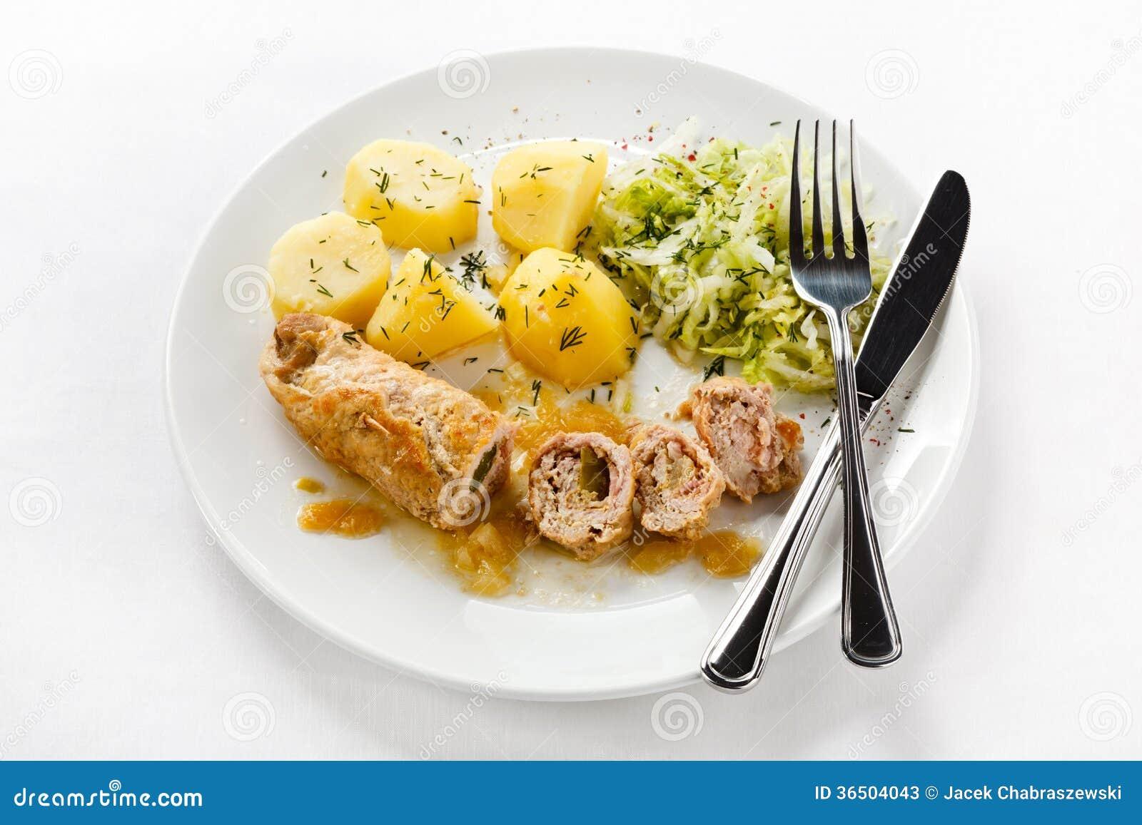 Côtelette et légumes de porc