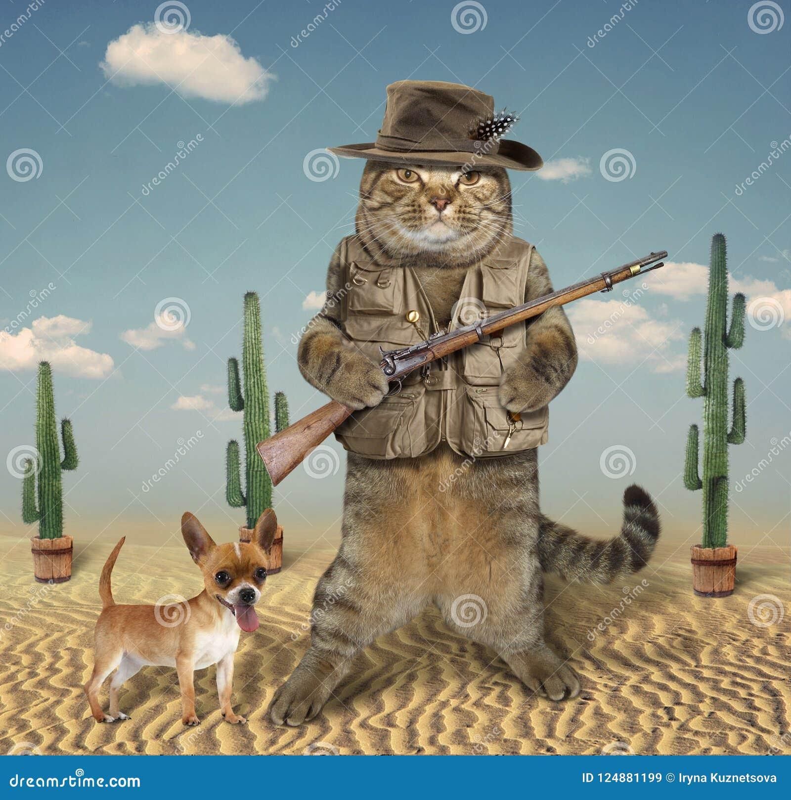Caçador do gato com cão 4