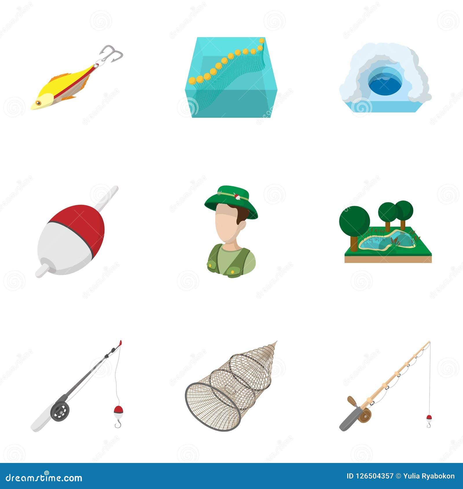 Caçar para ícones dos peixes ajustou-se, estilo dos desenhos animados