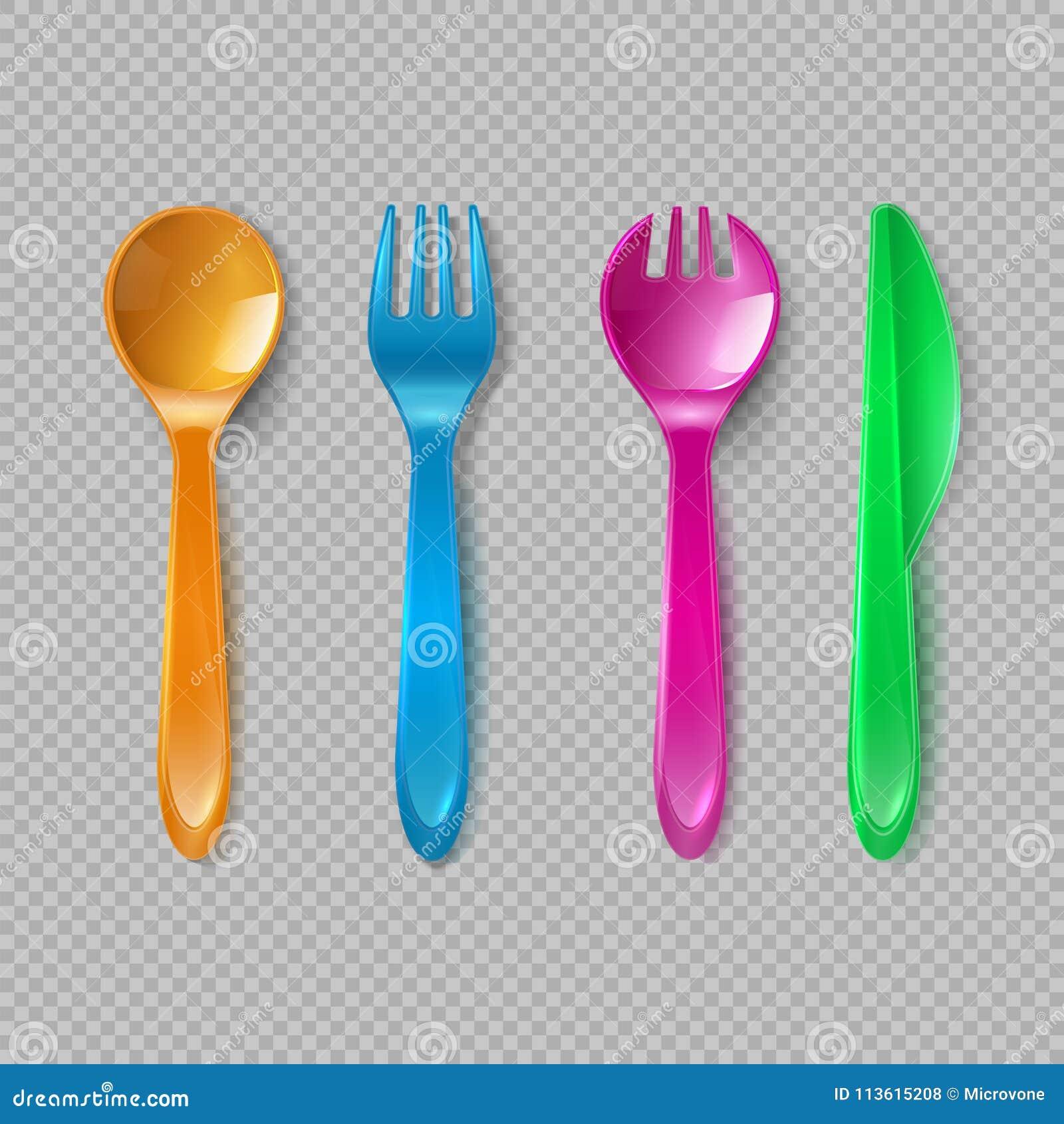 Caçoa a cutelaria plástica Poucas colher, forquilha e faca Dishware descartável, cozinha do brinquedo que janta o grupo do vetor