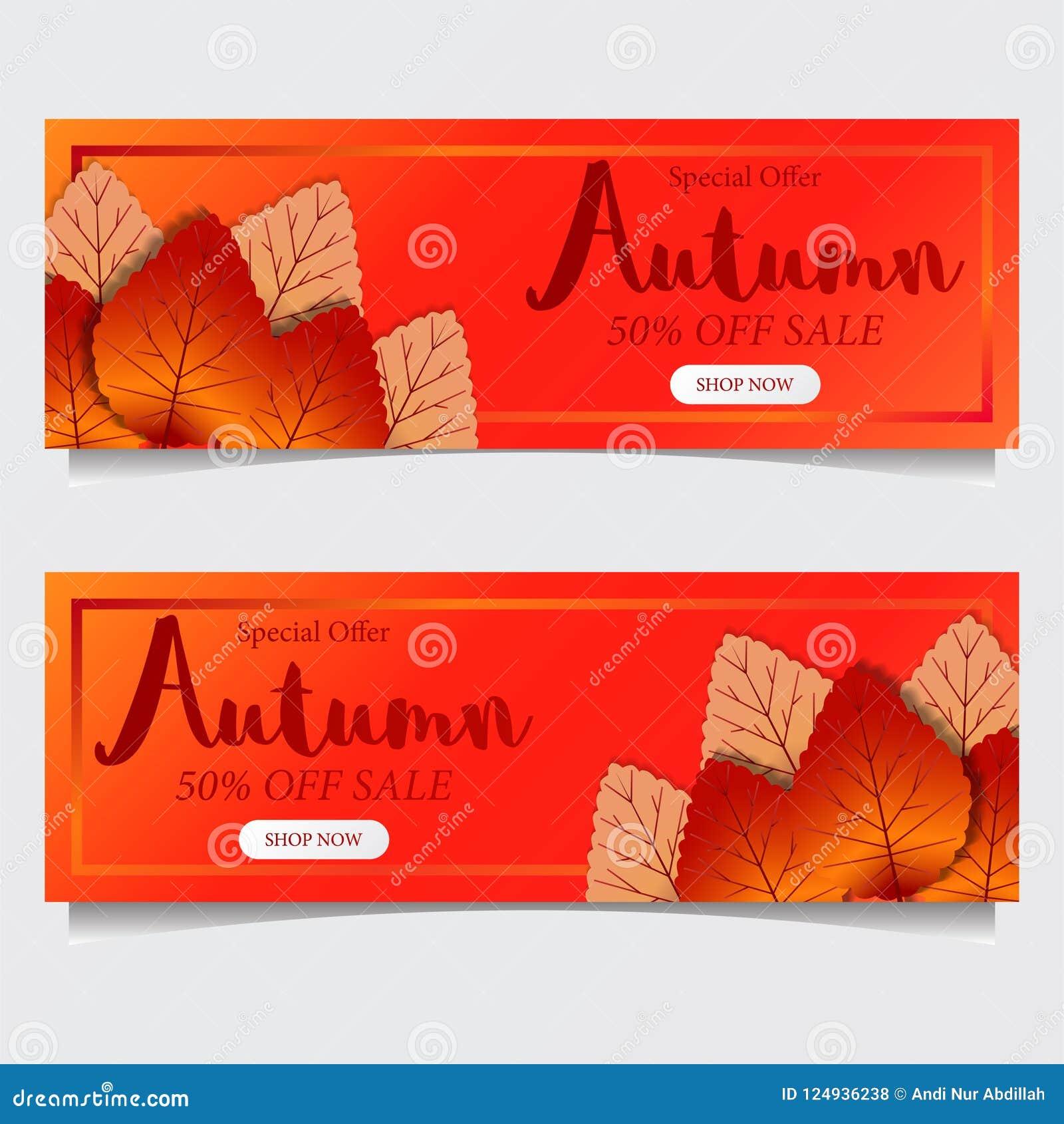 Caída de las hojas de otoño con el fondo anaranjado rojo plantilla de la oferta de la venta Modelo del cartel plantilla de la ban