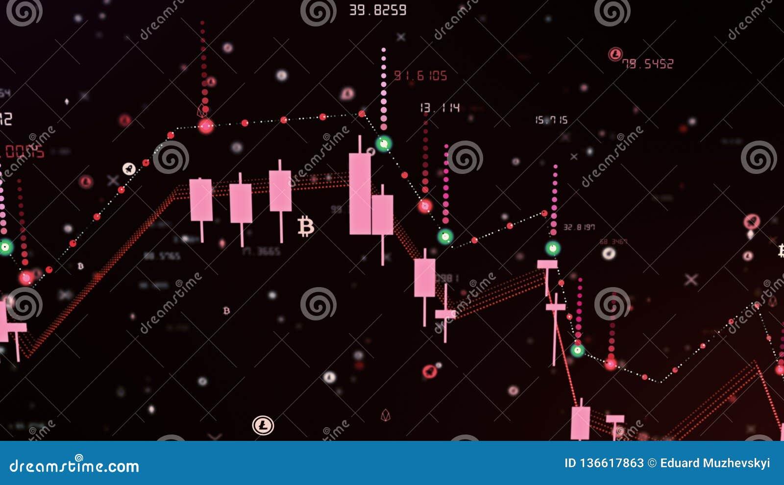 Caída financiera del diagrama en mercado ceñudo, mostrando la recesión o la crisis financiera