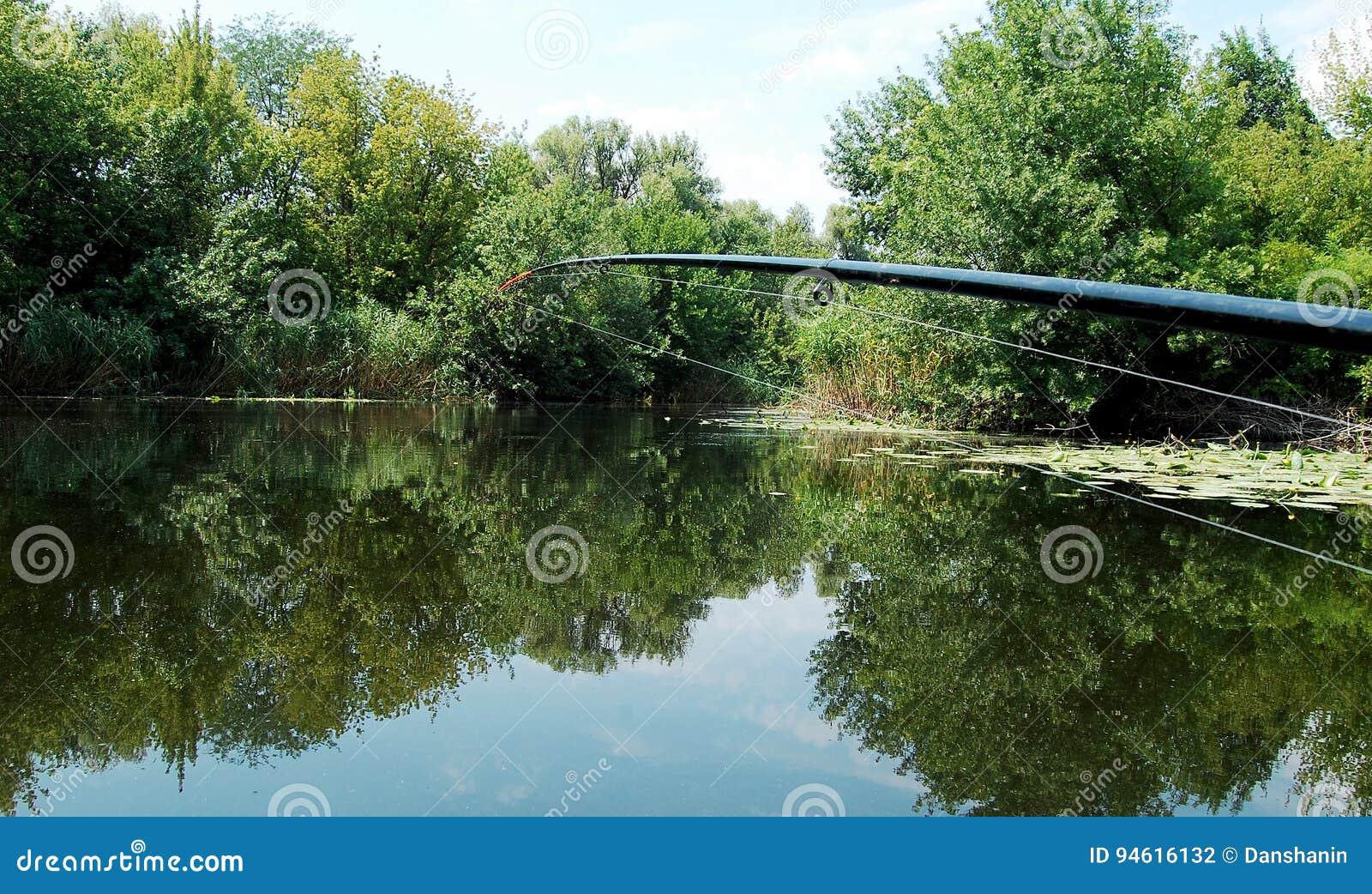 Caña de pescar en el fondo de la superficie lisa del agua al mediodía