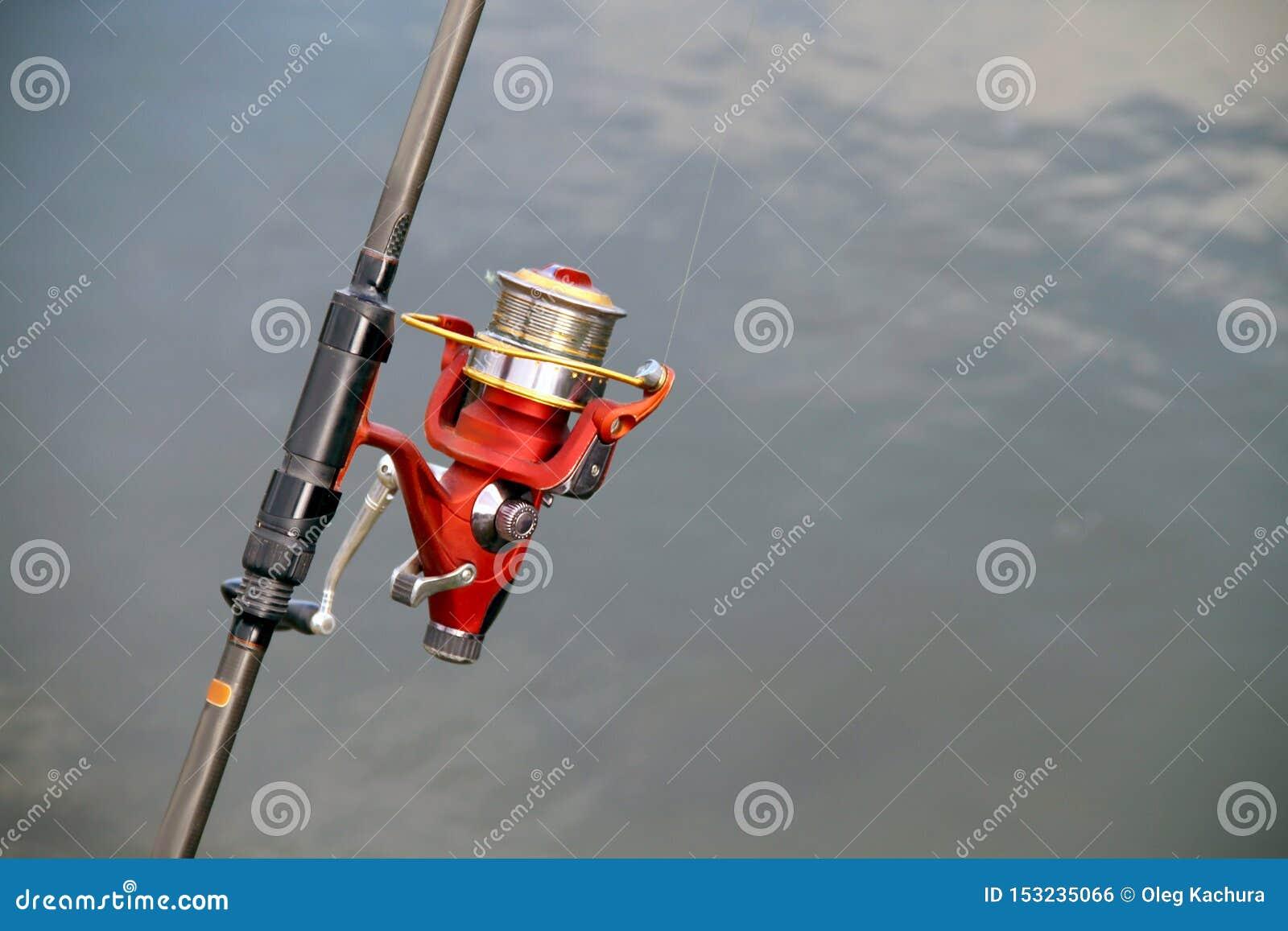Caña de pescar de la caña de pescar en el fondo de la charca