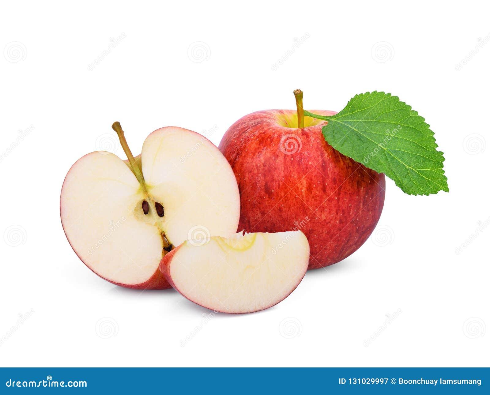 Cały i przyrodni czerwony galowy jabłko z zielonym liściem odizolowywającym na bielu
