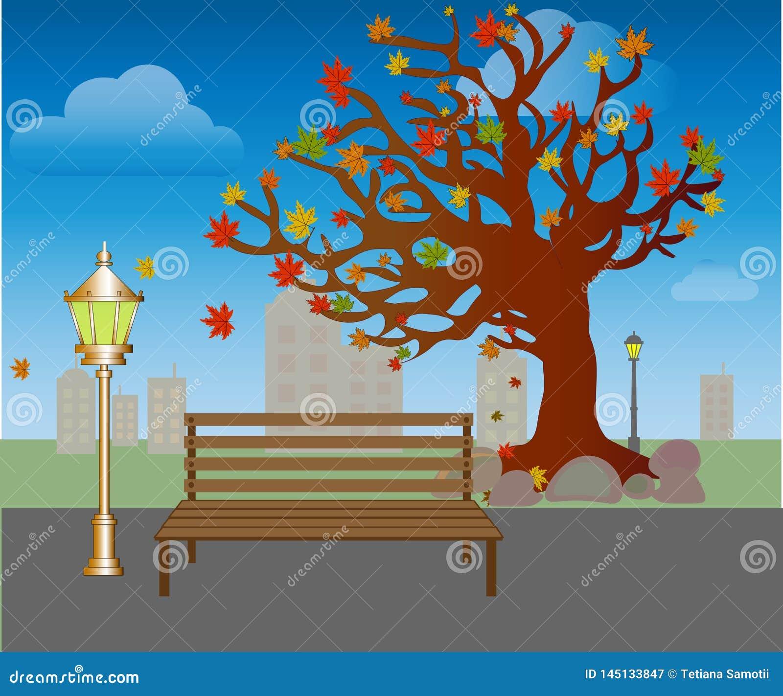 Ca?da de la hoja en parque del oto?o Banco debajo de árboles con vector amarillo de las hojas