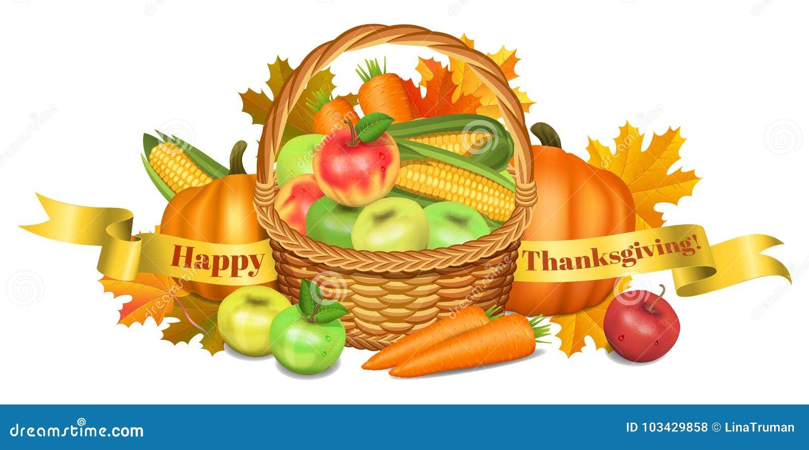 Ca karcianego powitania szczęśliwy ilustracj dziękczynienie Kosz z jabłkami, banie