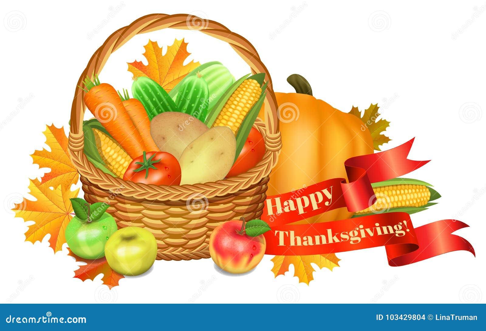 Ca karcianego powitania szczęśliwy ilustracj dziękczynienie Kosz z warzywami, jabłka