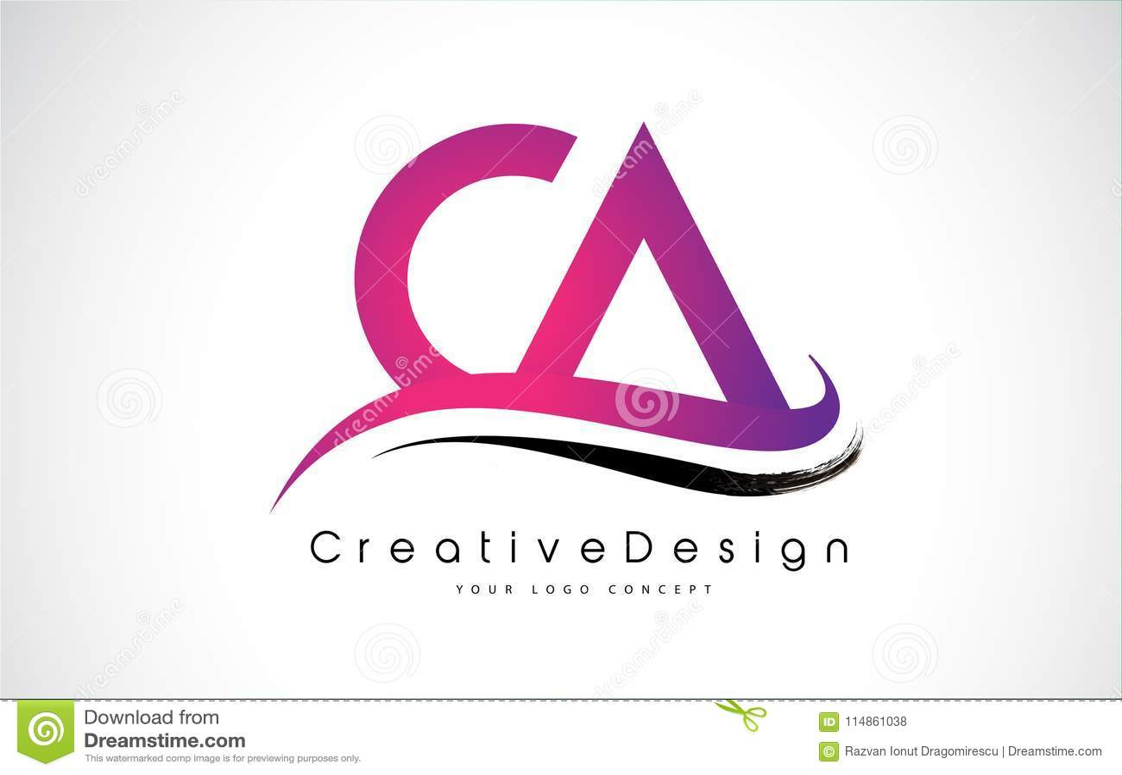 CA Letter Logo Design In Purple Colors. Stock Vector - Illustration ...