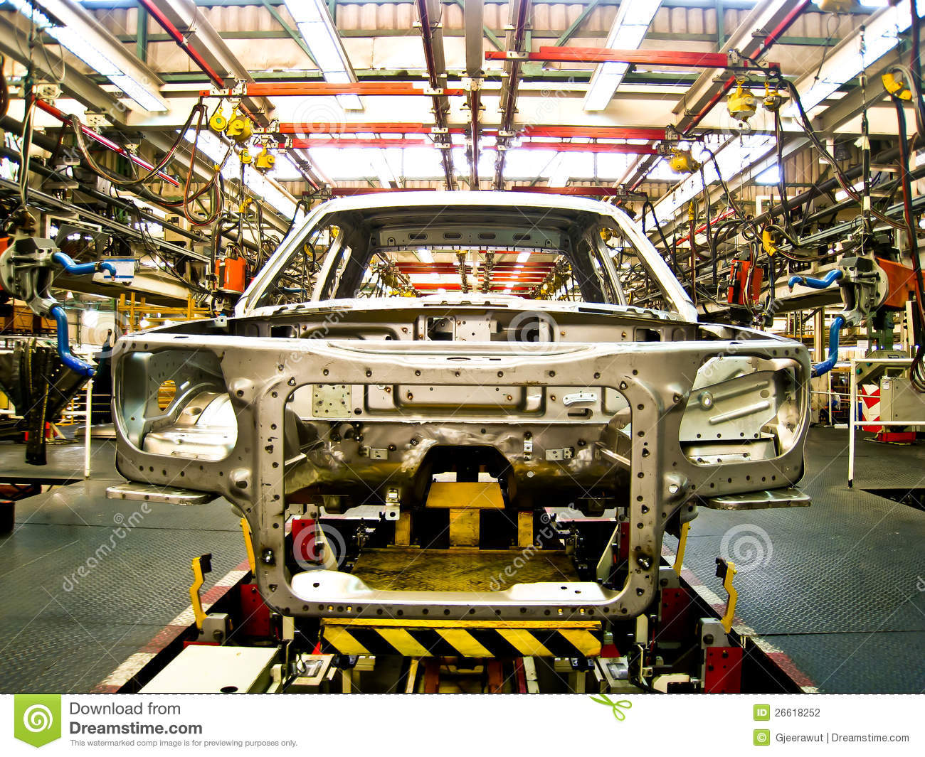 Vehicle Assembly Line : Cab of car in welding assembly line stock photo image