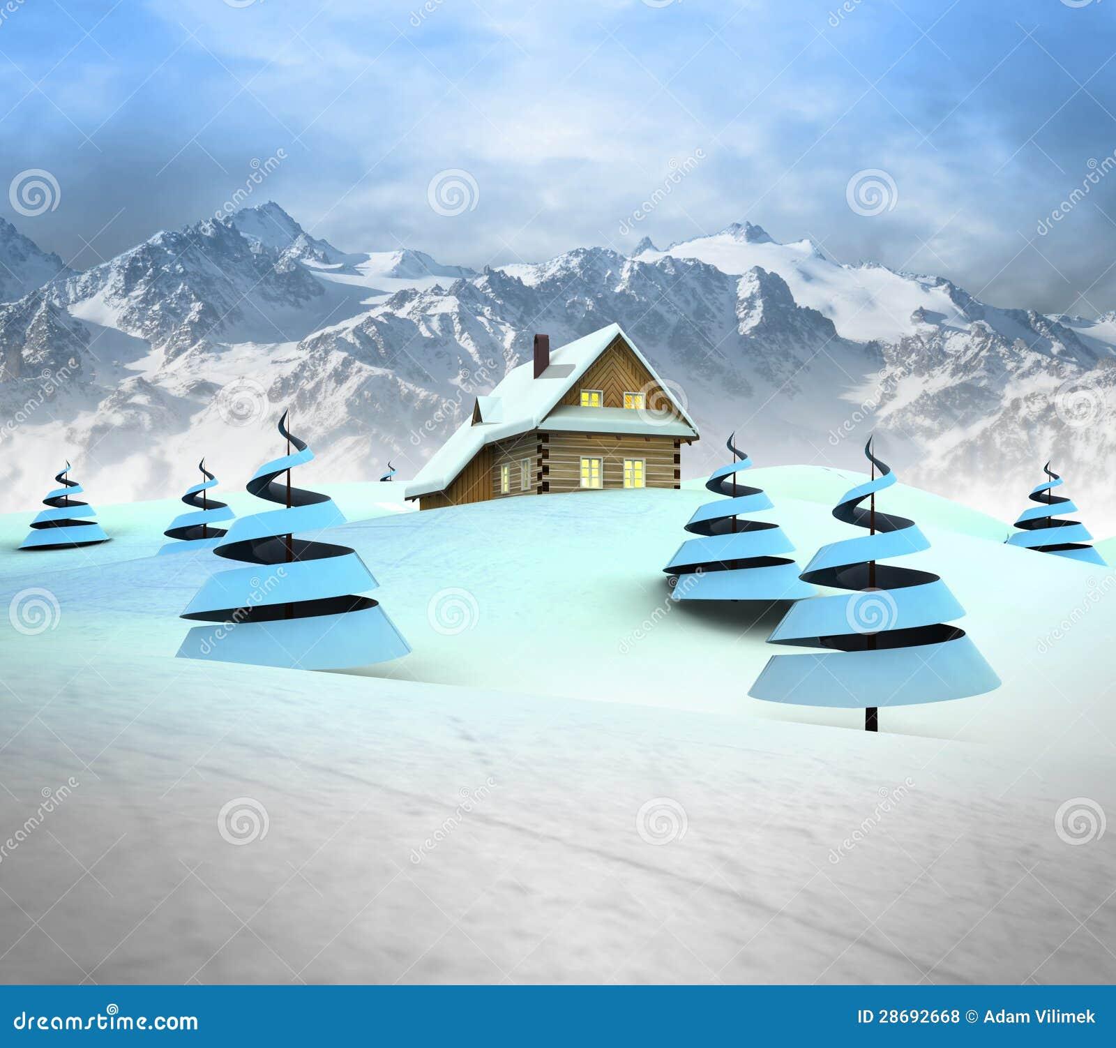 Caba a de la monta a en paisaje del invierno con paisaje de la alta monta a fotos de archivo - Cabana invierno ...