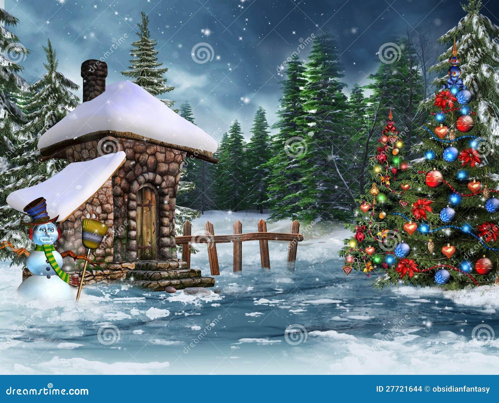 Caba a de la navidad con un mu eco de nieve stock de - Cabanas de madera en la nieve ...