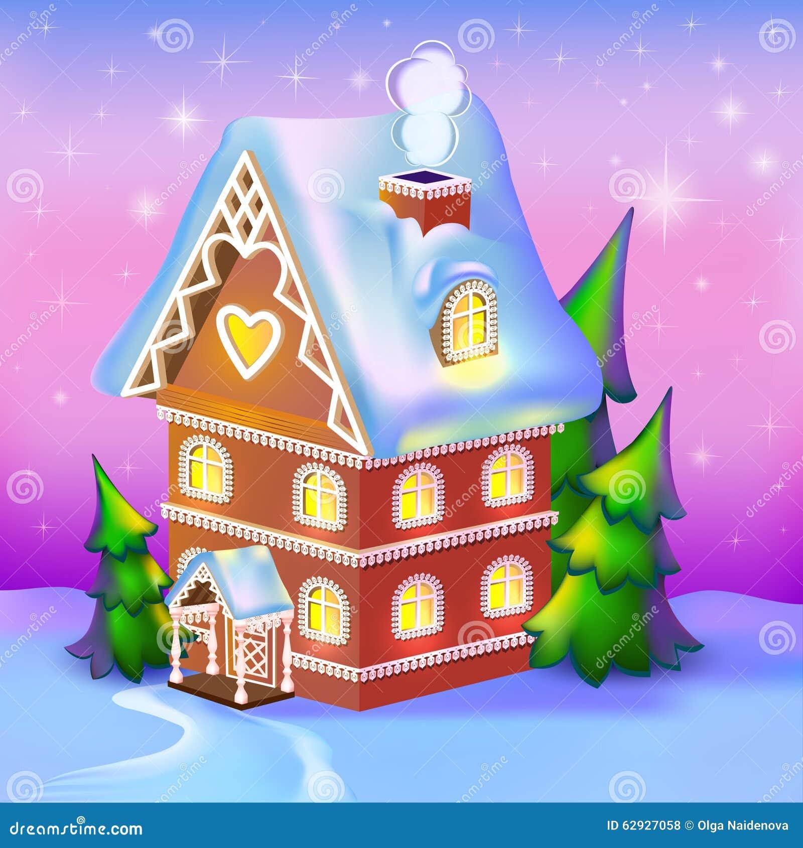Cabaña dreamlike en la nieve