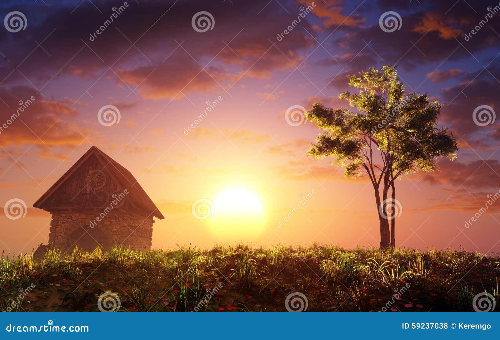 Download Cabaña Y árbol En La Colina De La Puesta Del Sol Stock de ilustración - Ilustración de dreamy, sobre: 59237038