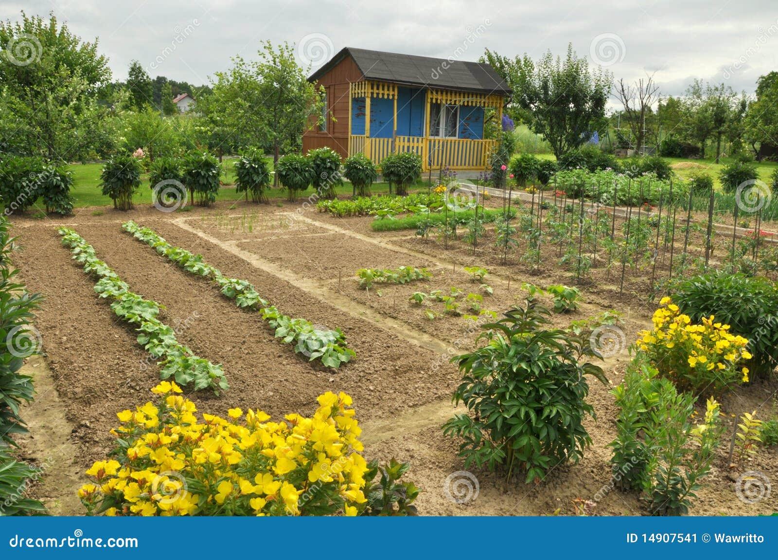 Cabaña y jardín vegetal