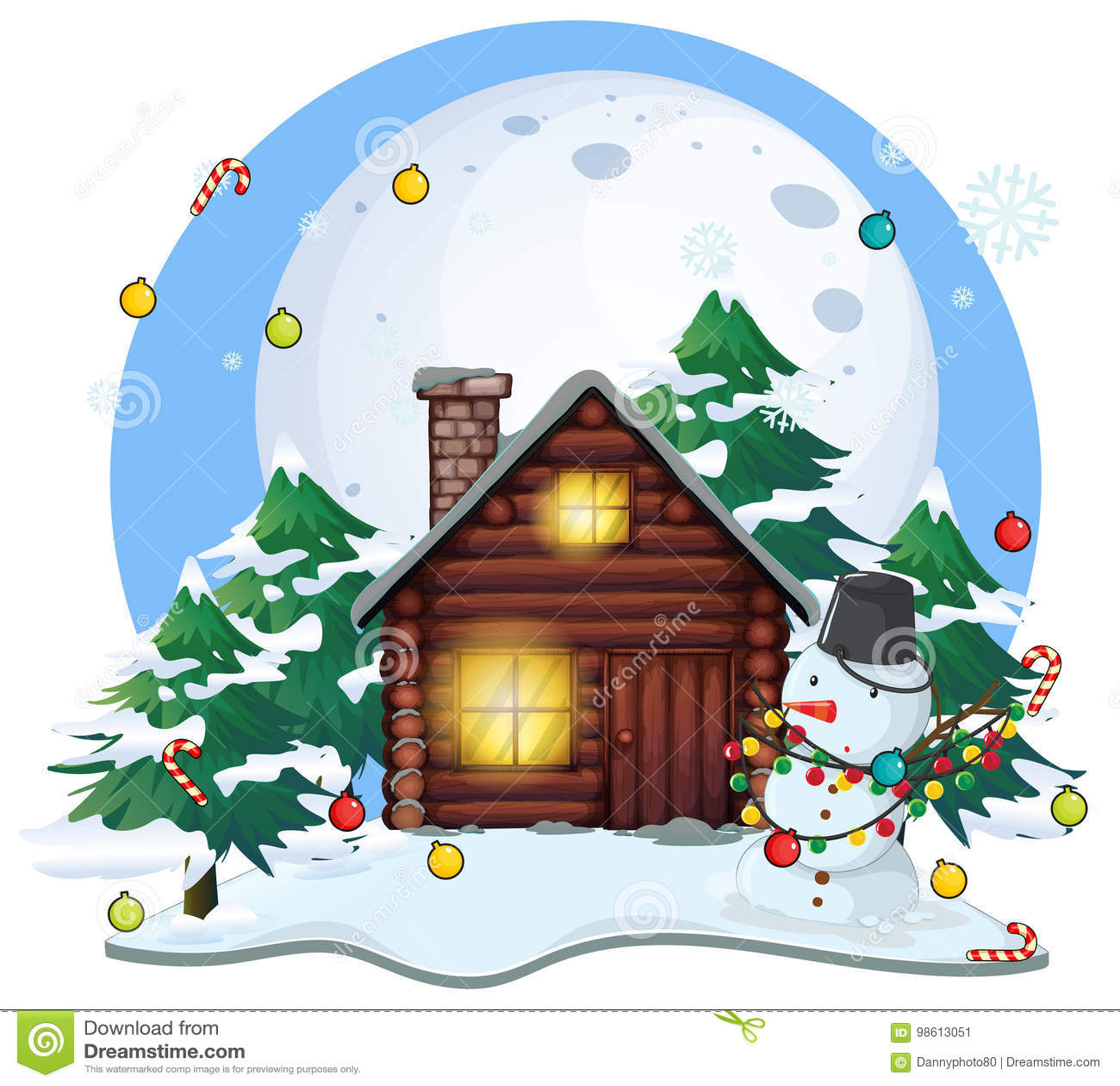 Caba a y mu eco de nieve de madera en la navidad - Cabanas de madera en la nieve ...