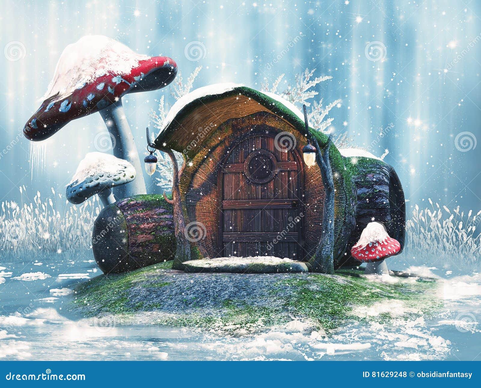 Cabaña y setas del invierno