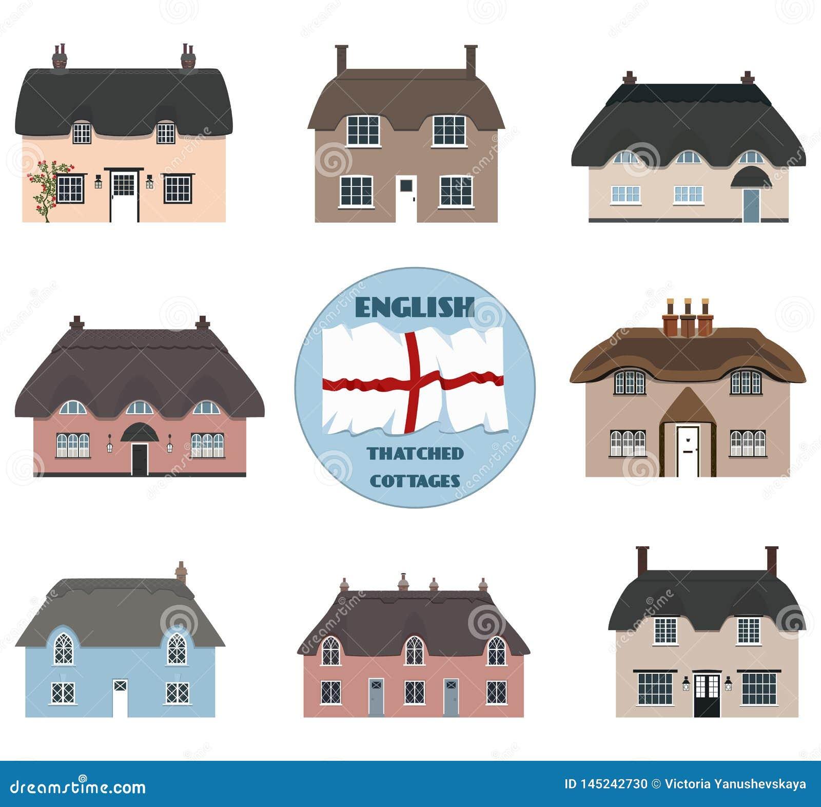 Cabañas y bandera cubiertas con paja viejas inglesas de Inglaterra