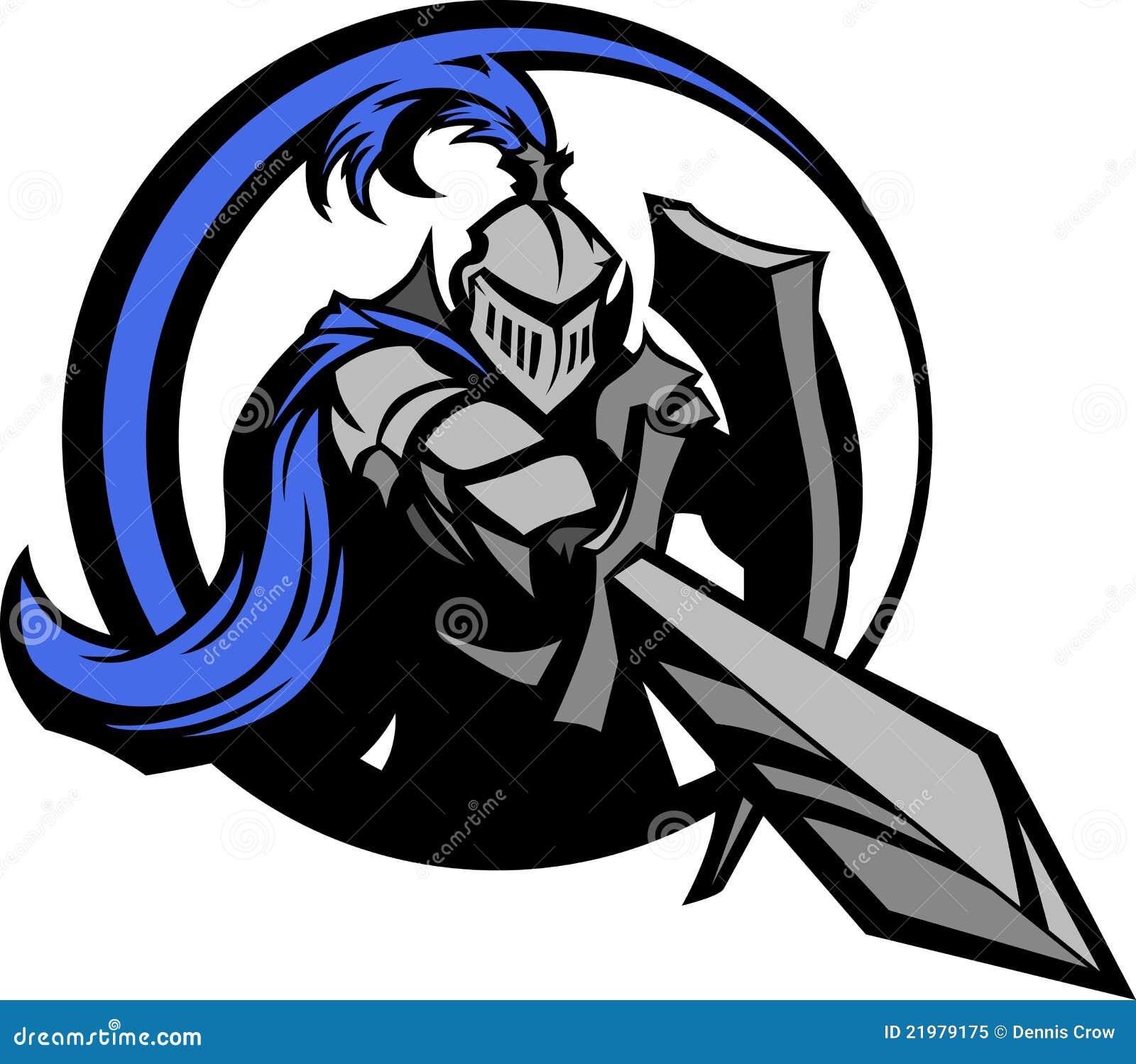 Caballero medieval con la mascota de la espada y del blindaje