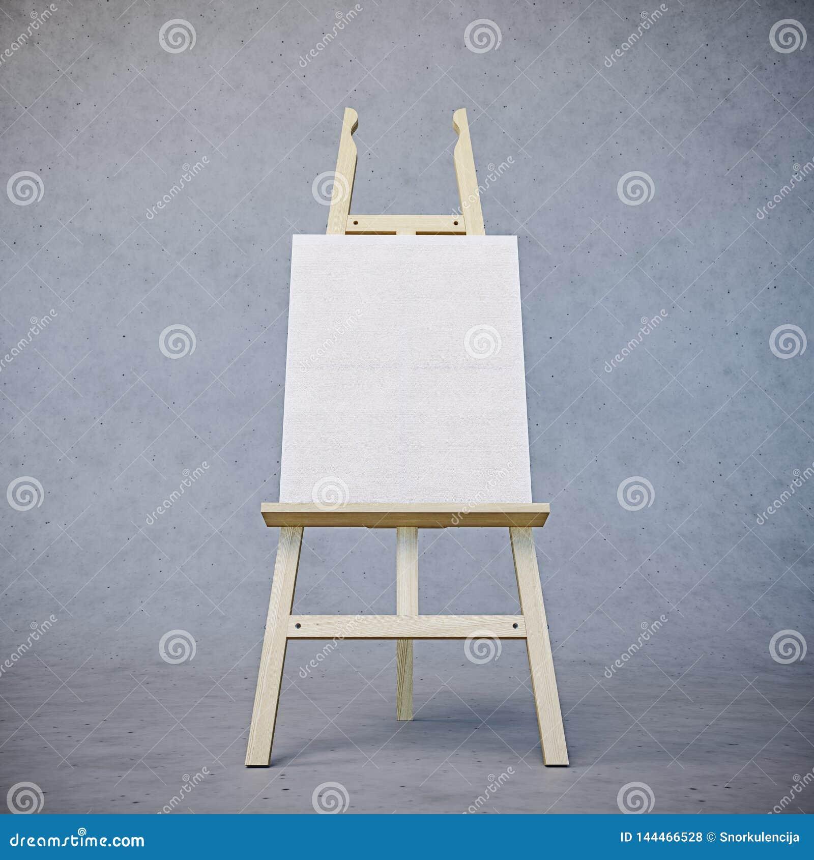 Caballete de madera de pintura del soporte con el tablero en blanco de la muestra del cartel de la lona aislado en fondo concreto