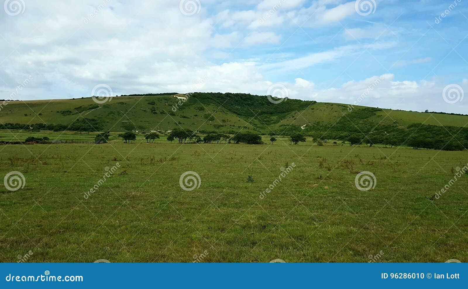 Caballo blanco del pueblode Litlingtonen el inSussexdel este,Inglaterra, del valle de Cuckmeredel the